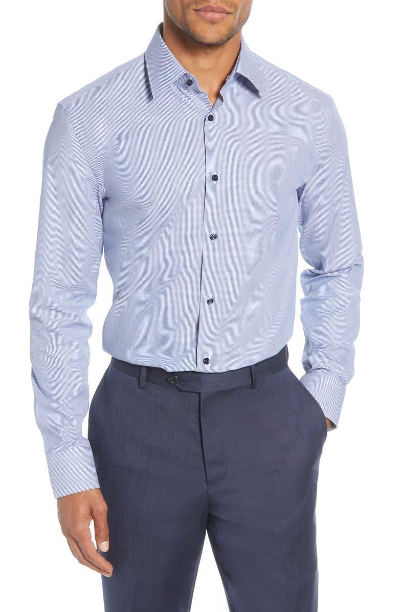 BOSS Slim Fit Stripe Dress Shirt, Main, color, NAVY