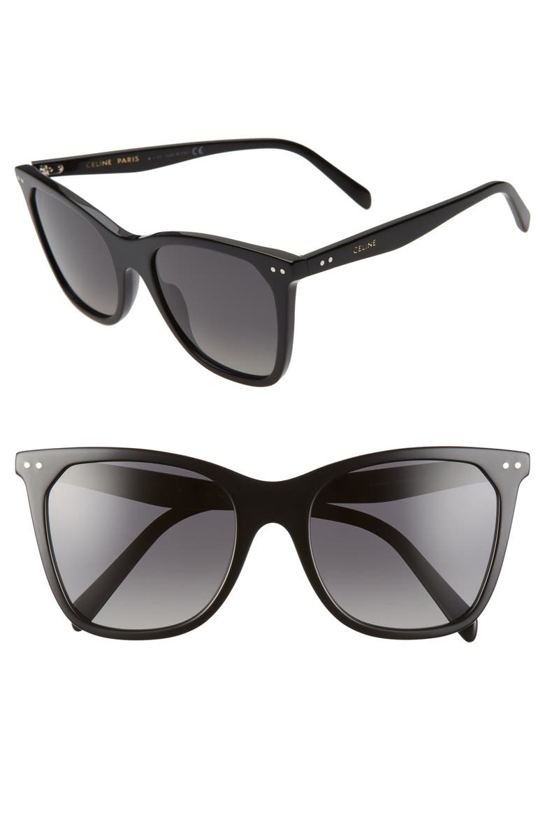 CELINE 55mm Polarized Cat Eye Sunglasses, Main, color, BLACK/ SMOKE