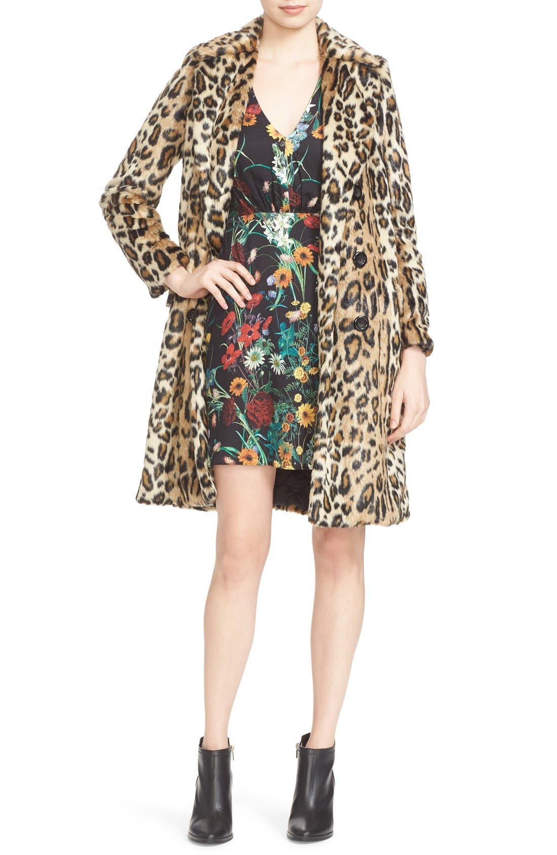 ,                             'Montana' Leopard Print Faux Fur Double Breasted Coat,                             Alternate thumbnail 6, color,                             219