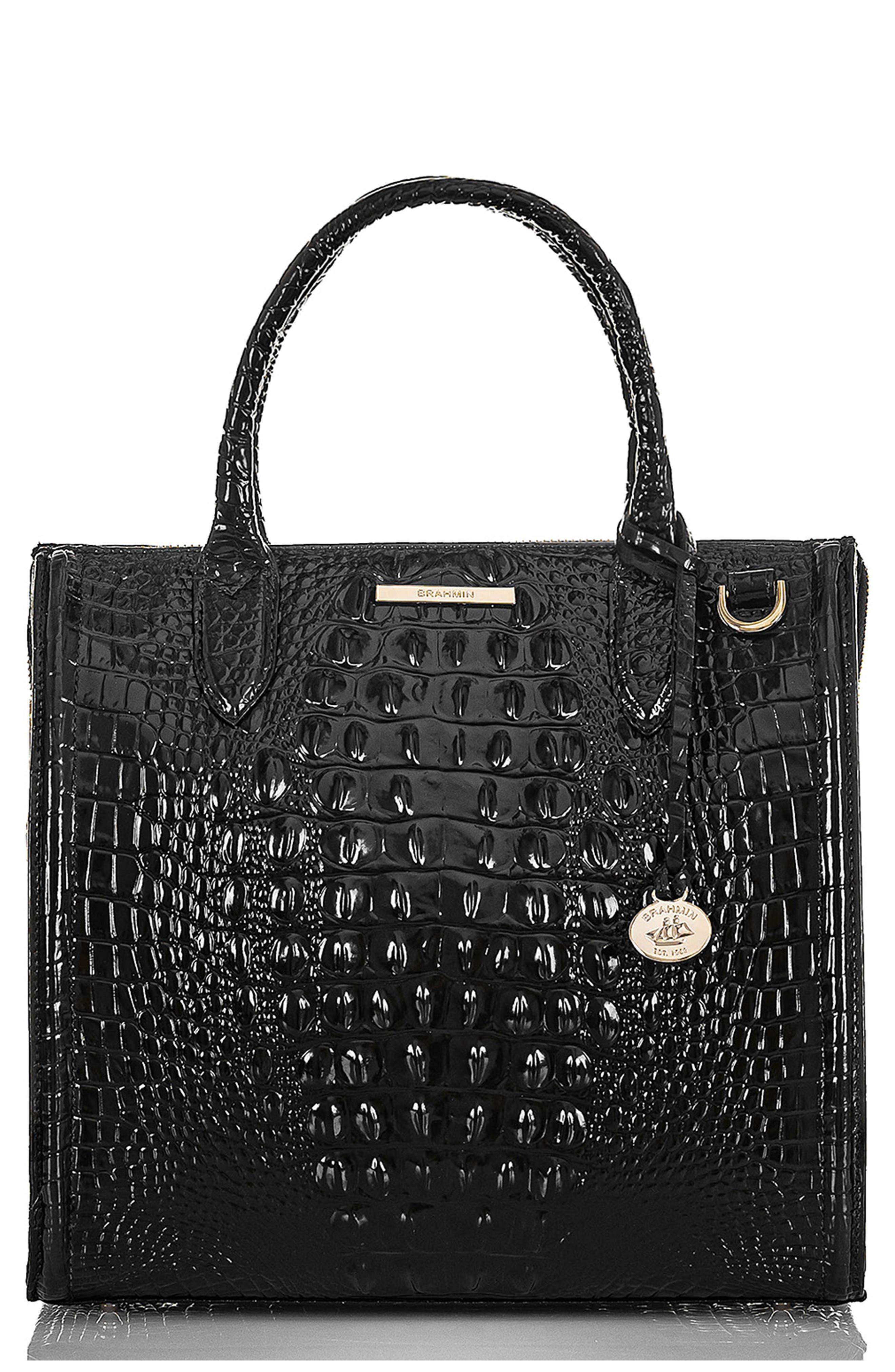 Caroline Croc Embossed Leather Satchel