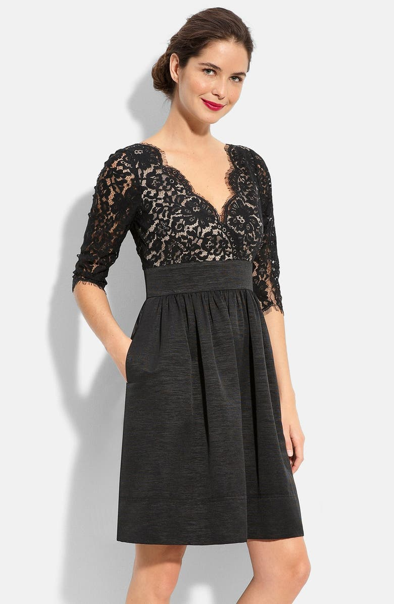 ELIZA J Lace & Faille Dress, Main, color, 001