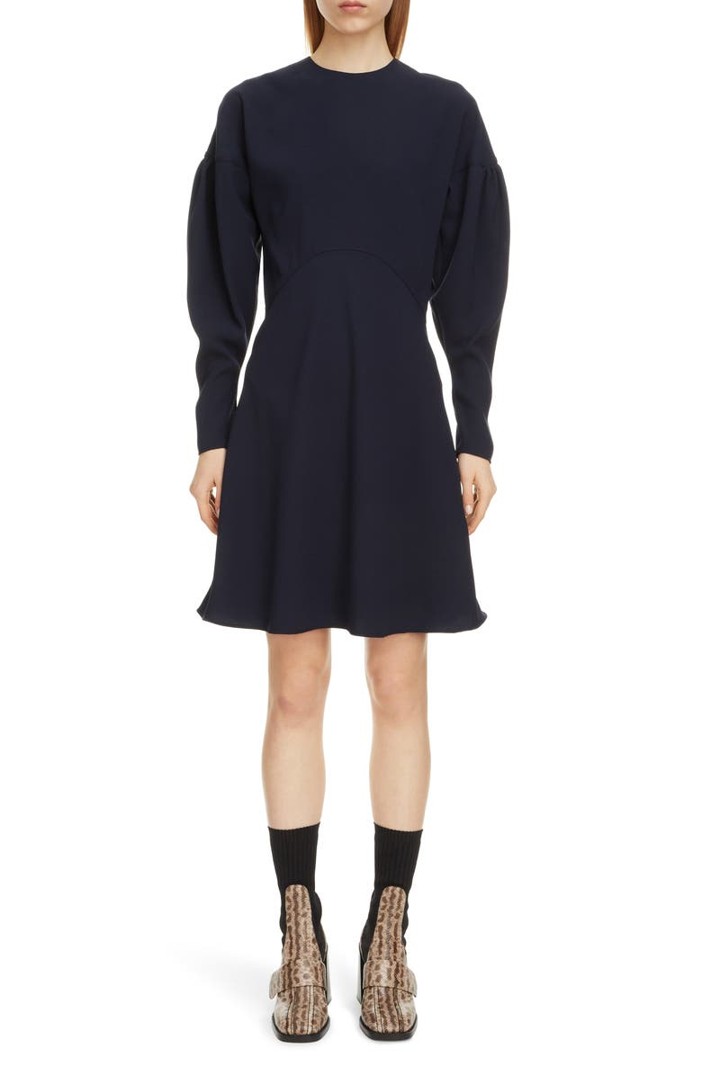 CHLOÉ Leg of Mutton Long Sleeve Dress, Main, color, STORMY NIGHT