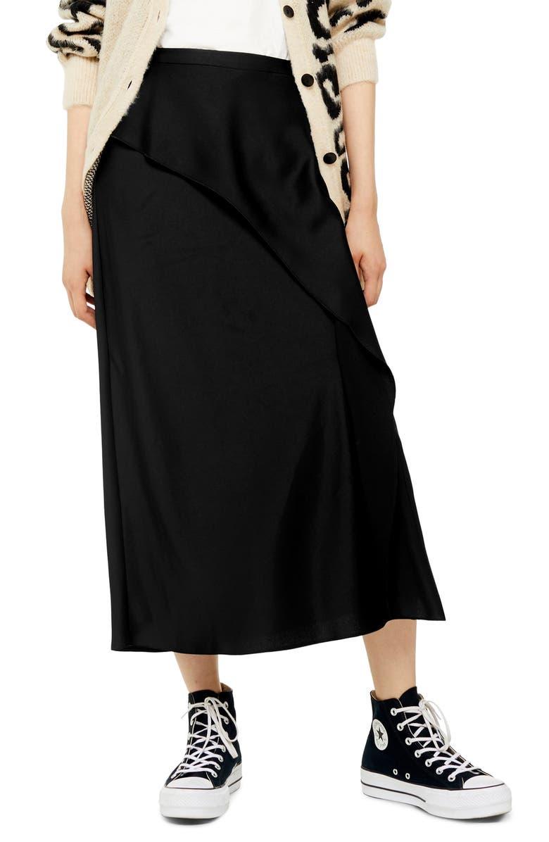 TOPSHOP Bias Cut Satin Midi Skirt, Main, color, BLACK