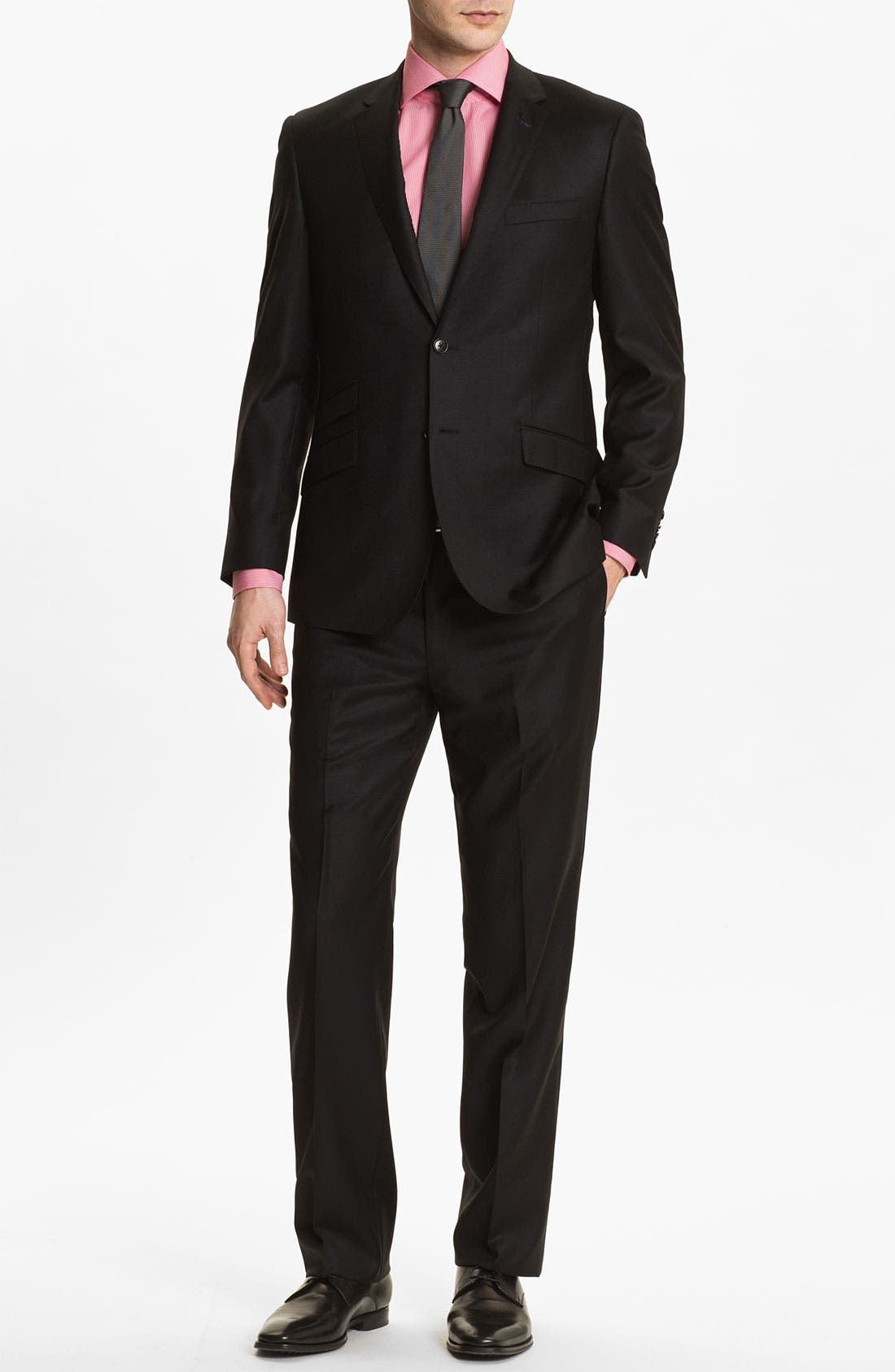 English Laundry Trim Fit Wool Suit (online Only) In Solid Black