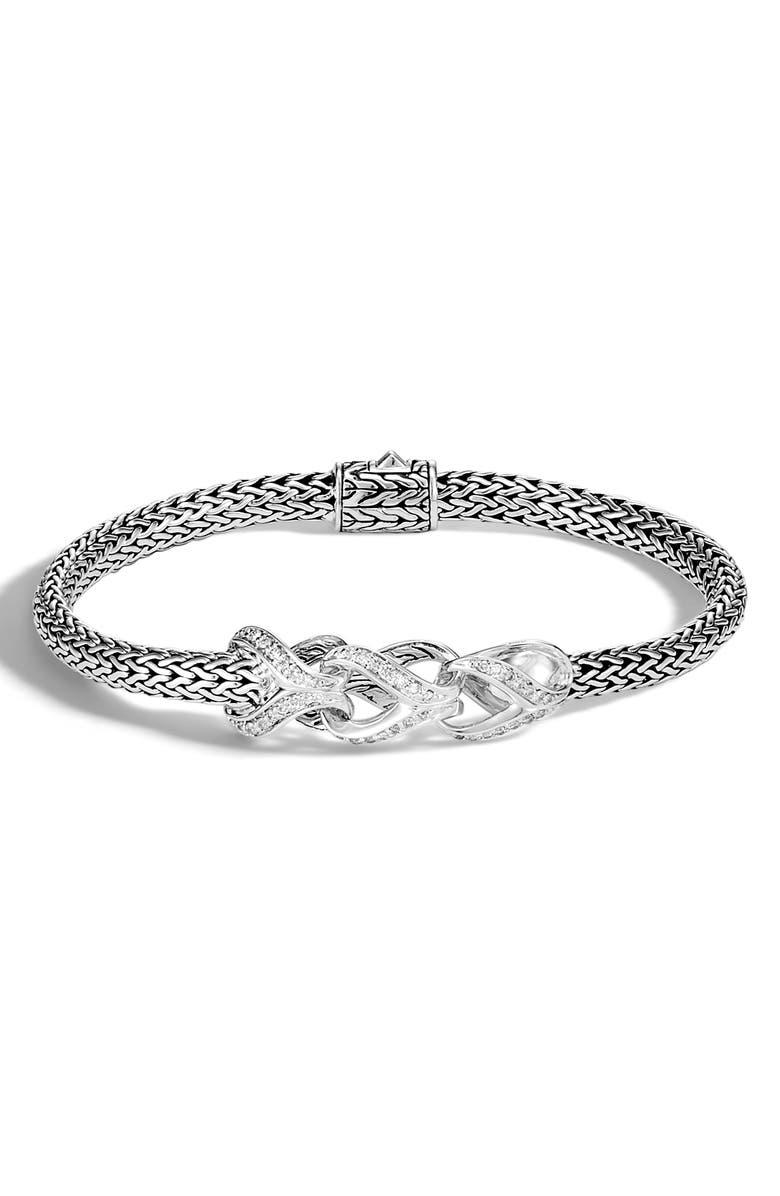 JOHN HARDY Asli Classic Chain Pavé Diamond Bracelet, Main, color, SILVER/ DIAMOND