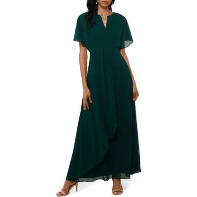 Xscape Chiffon Faux Wrap Gown, Green