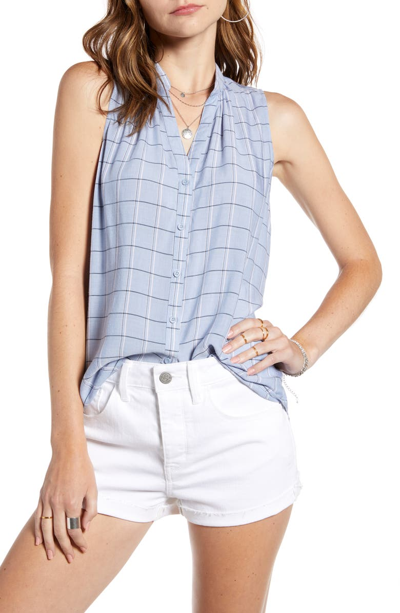 TREASURE & BOND Button-Up Sleeveless Blouse, Main, color, BLUE DRIZZLE MABEL PLAID