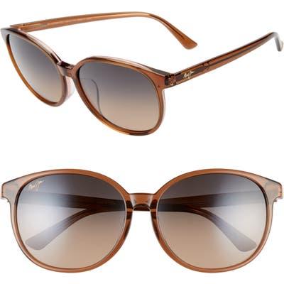 Maui Jim Water Lily 62Mm Polarizedplus2 Round Sunglasses - Caramel W/ Pink/ Hcl Bronze