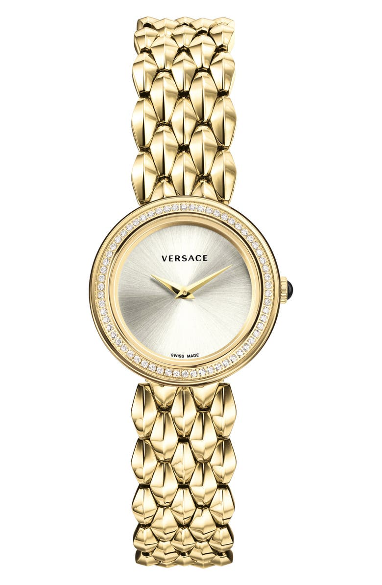 VERSACE V-Flare Diamond Dial Bracelet Watch, 28mm, Main, color, 710