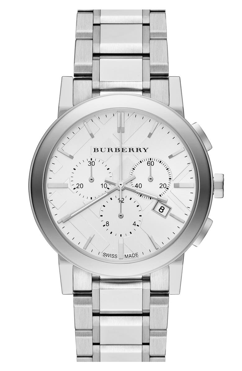 BURBERRY Check Stamped Round Bracelet Watch, 38mm, Main, color, 040