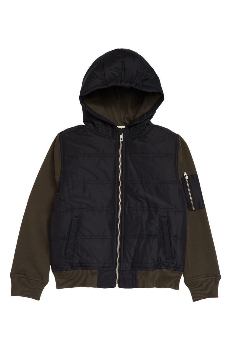 TUCKER + TATE Kids' Mountain Crest Hooded Jacket, Main, color, BLACK- OLIVE