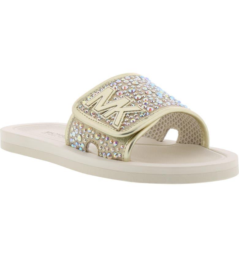 MICHAEL MICHAEL KORS Eli Gemma Crystal Slide Sandal, Main, color, SOFT GOLD CREAM