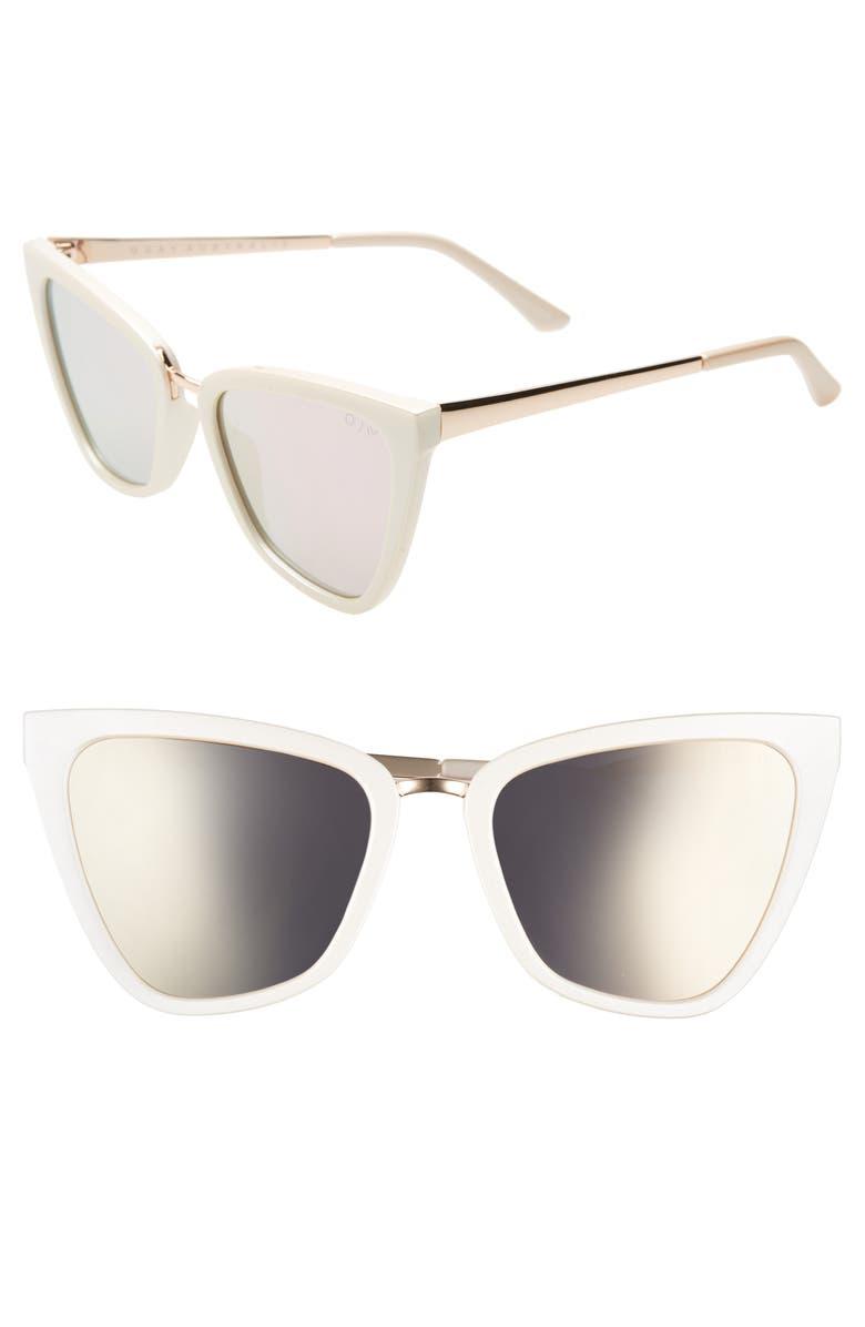QUAY AUSTRALIA x JLO Reina 51mm Cat Eye Sunglasses, Main, color, PEARL/ ROSE