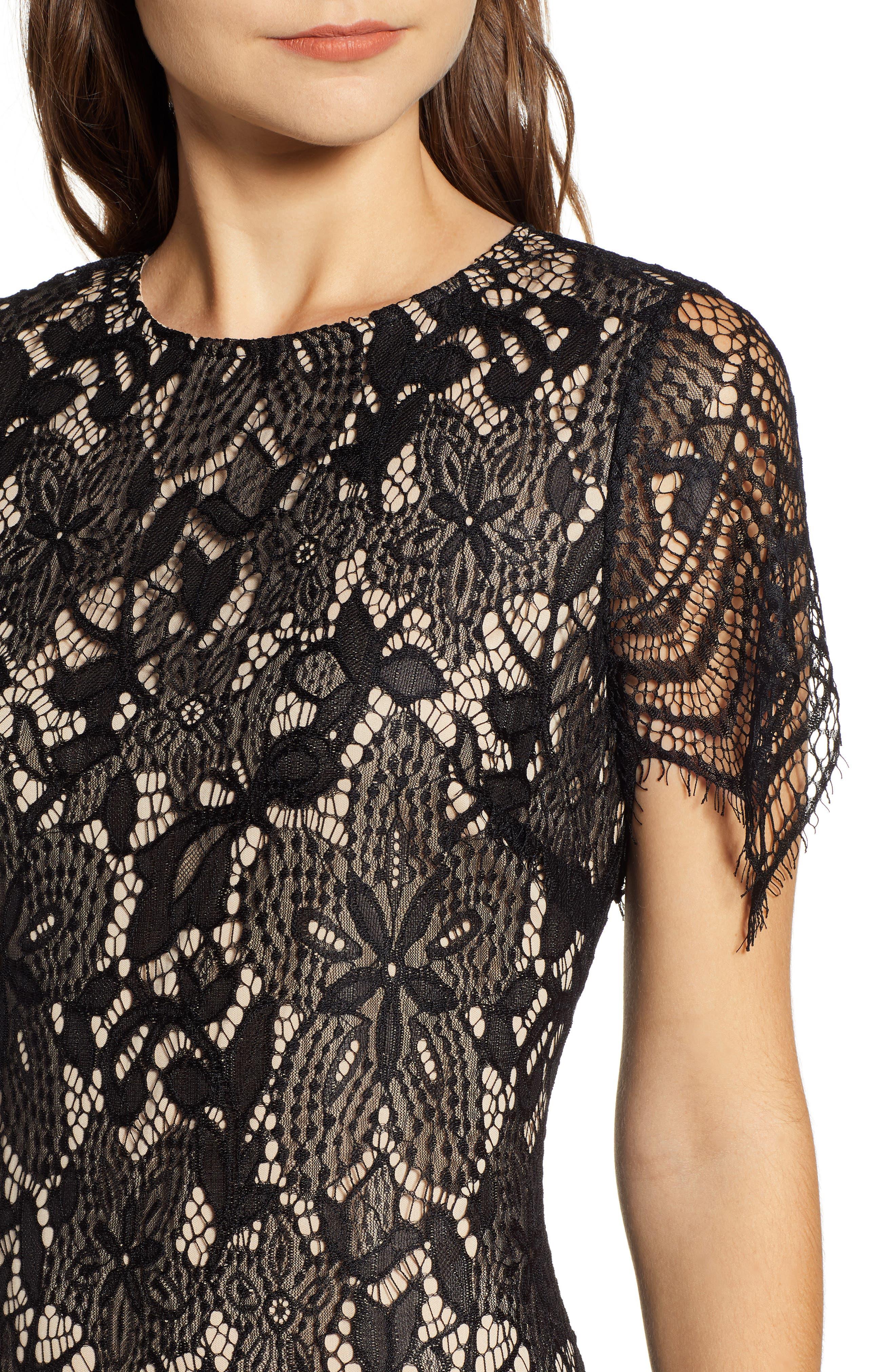 ,                             Scallop Lace Dress,                             Alternate thumbnail 5, color,                             001