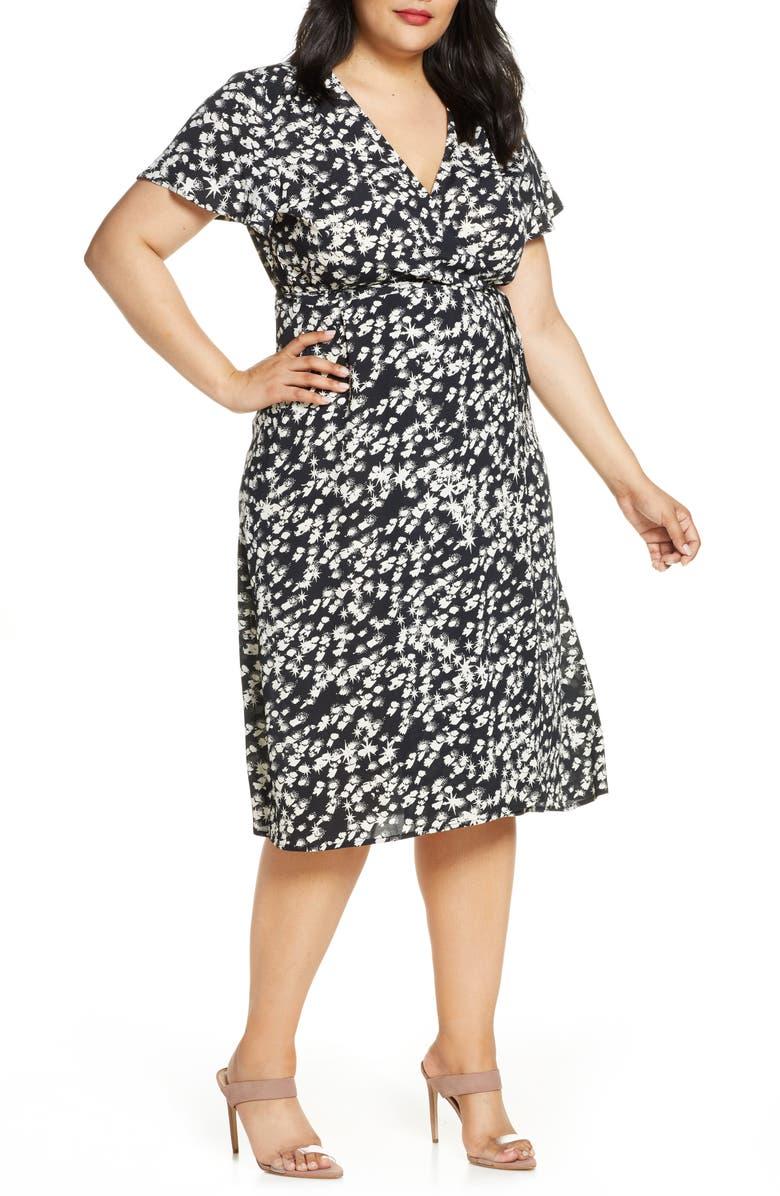 LEITH Print Flutter Sleeve Wrap Dress, Main, color, BLACK STARBURST
