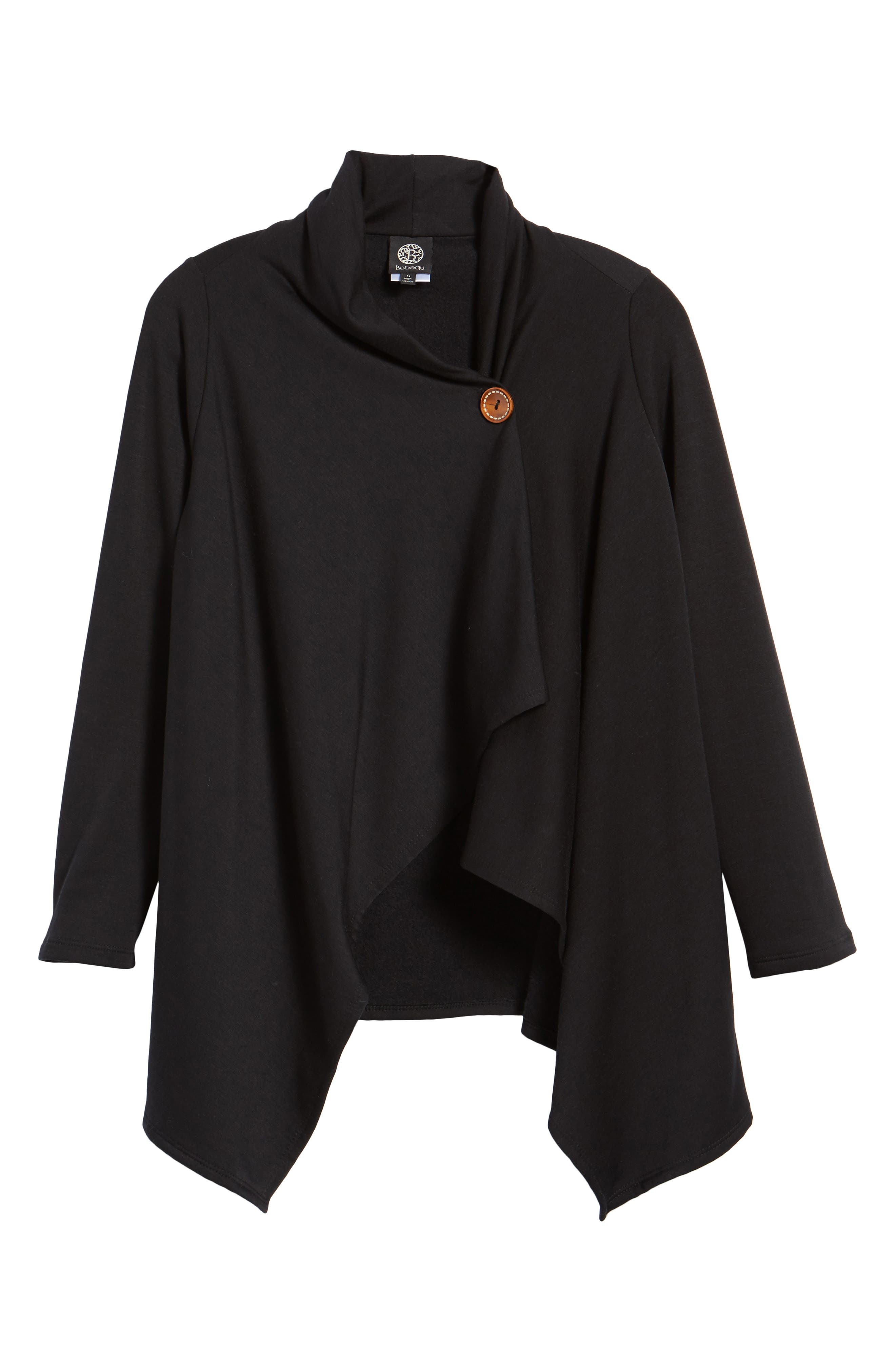 ,                             One-Button Fleece Wrap Cardigan,                             Alternate thumbnail 6, color,                             001