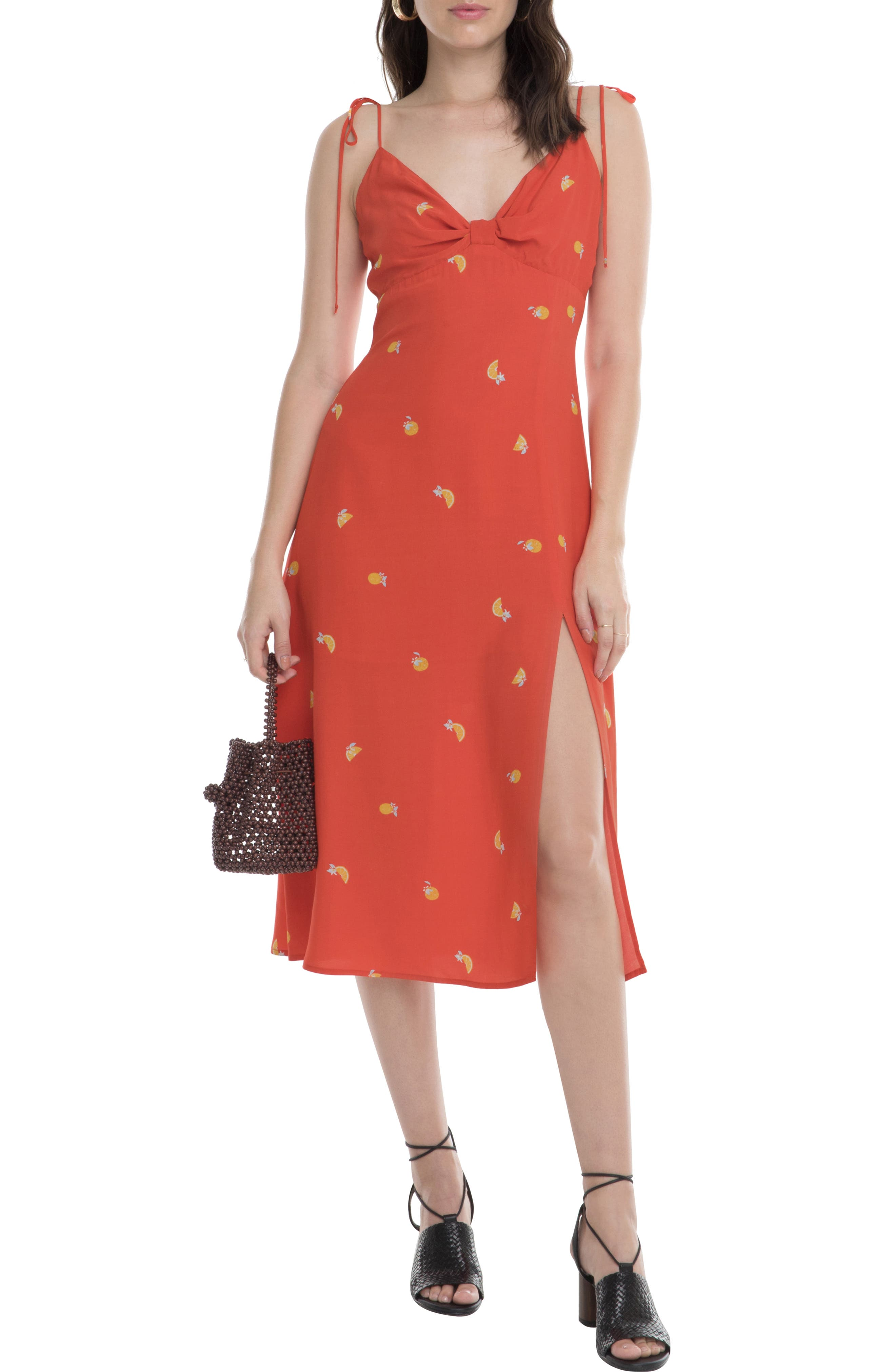 Astr The Label Brigette Citrus Print Tie Sleeve Dress, Orange