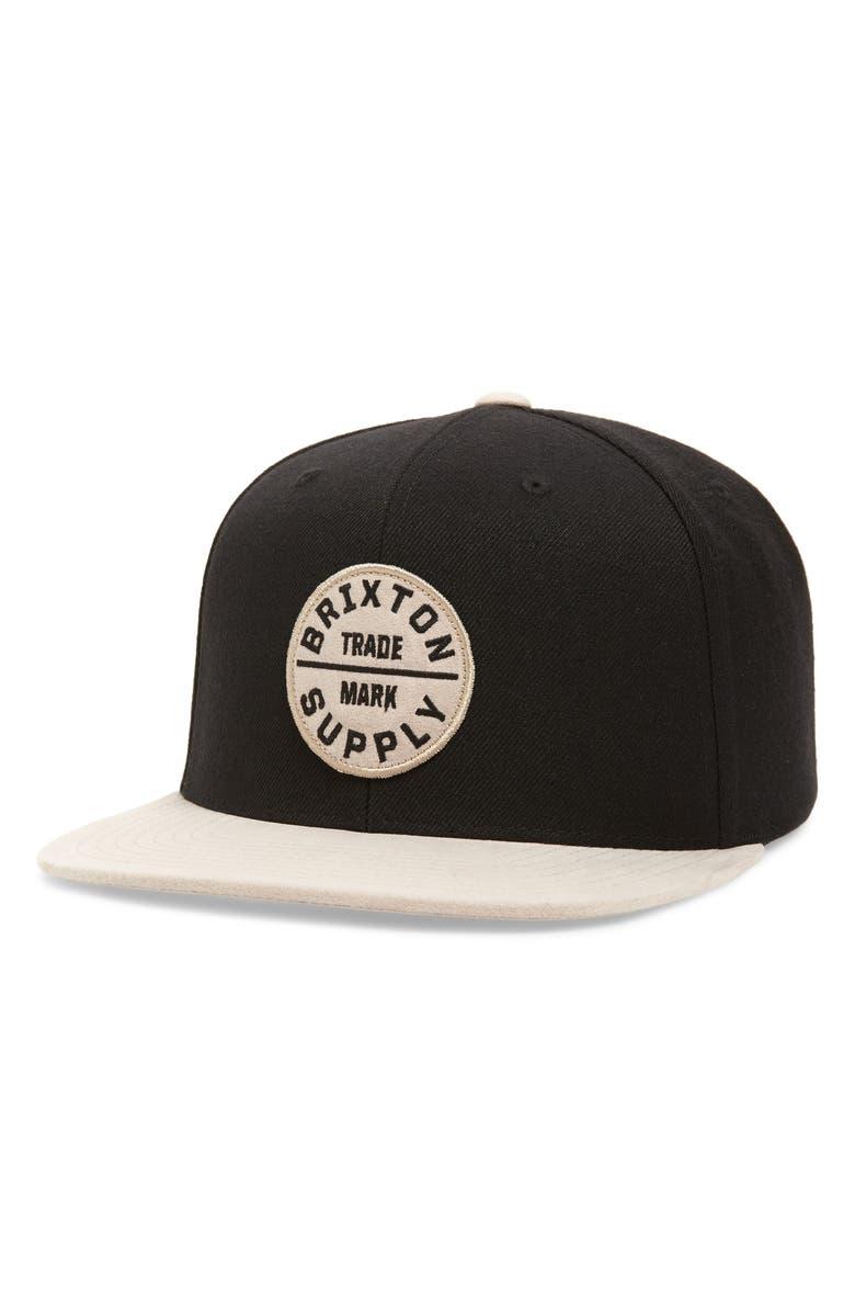 BRIXTON Oath III Snapback Baseball Cap, Main, color, BLACK/ VANILLA