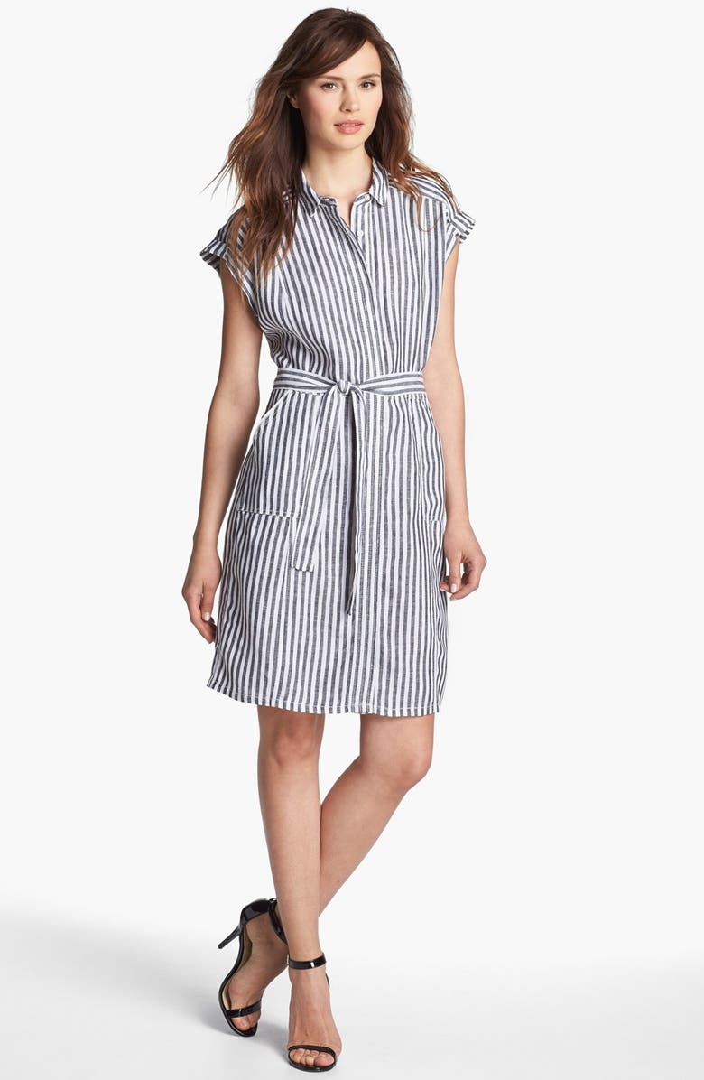 CASLON<SUP>®</SUP> Tie Front Shirtdress, Main, color, 001