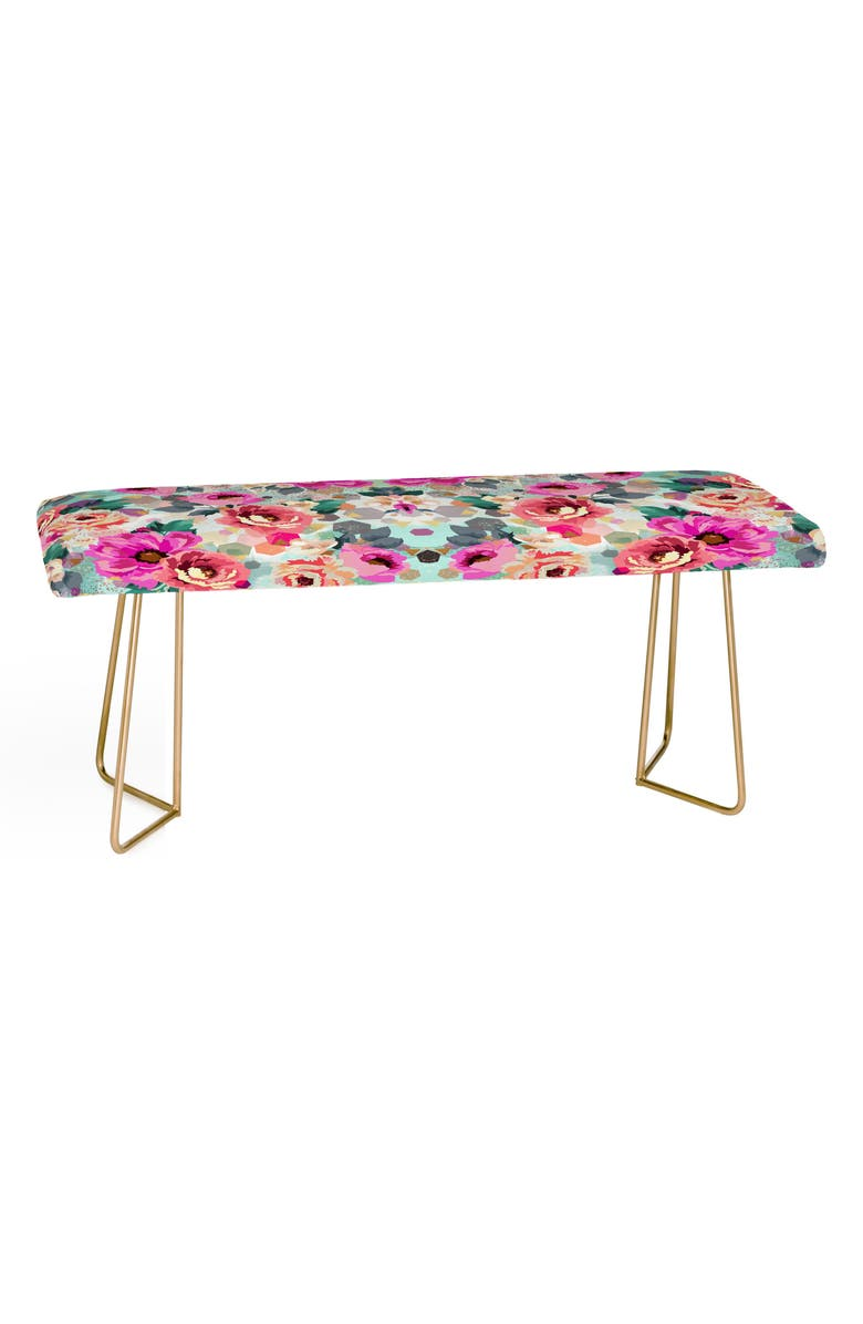 DENY DESIGNS Marta B. Camarasa Geometric Floral Bench, Main, color, PINK