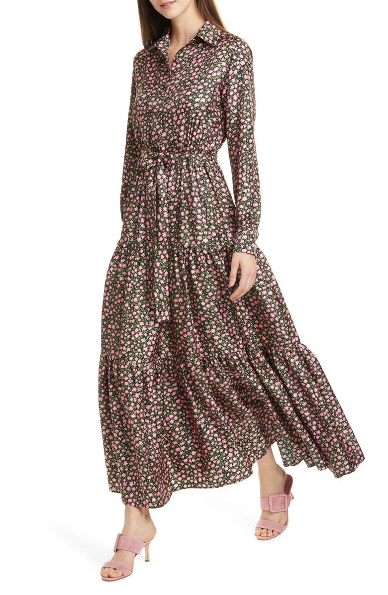 LA DOUBLEJ LaDouble J Bellini Floral Print Silk Twill Long Sleeve Maxi Shirtdress, Main, color, DAISY