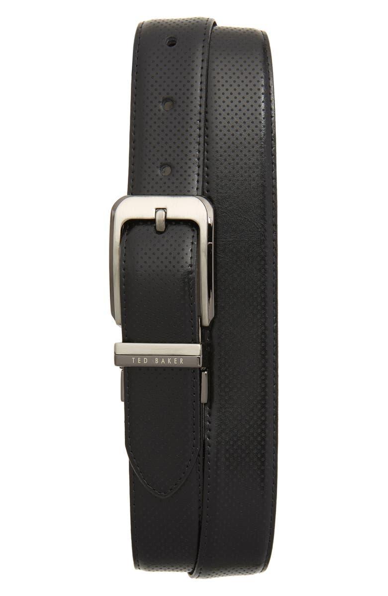 TED BAKER LONDON Hock Reversible Leather Belt, Main, color, BLACK