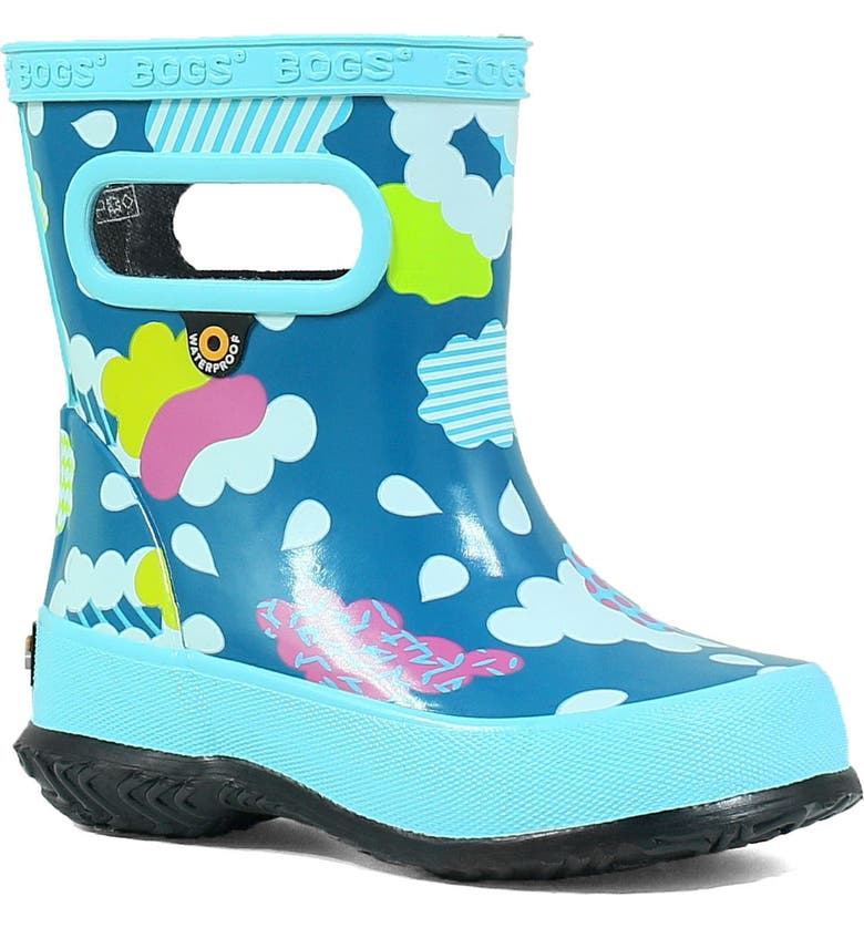 BOGS Clouds Skipper Waterproof Rain Boot, Main, color, AQUA MULTI