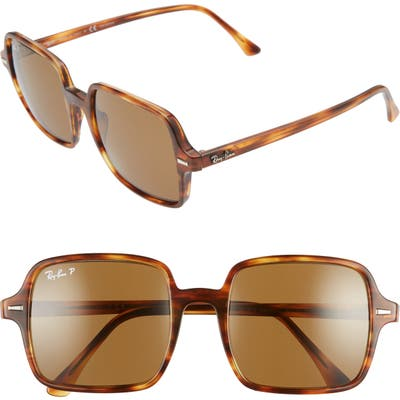 Ray-Ban 5m Polarized Square Sunglasses - Striped Havana/ Brown Polar