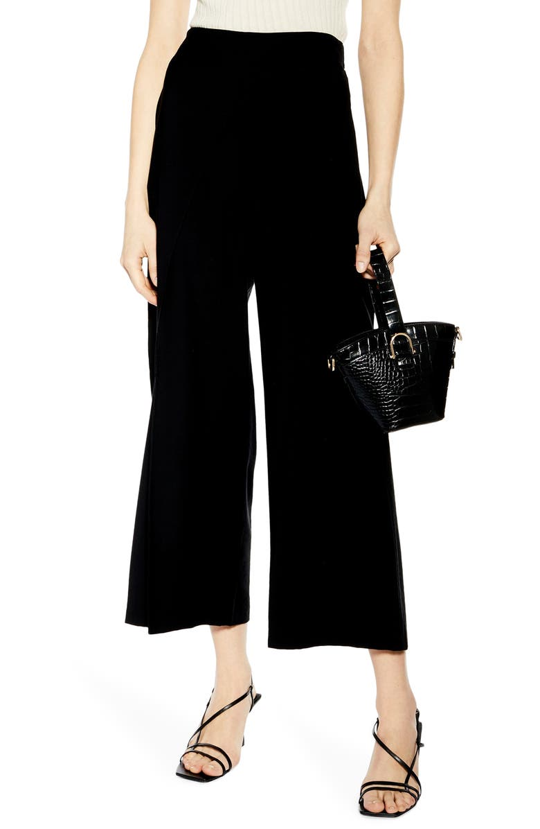 TOPSHOP Slash Cropped Palazzo Trousers, Main, color, BLACK