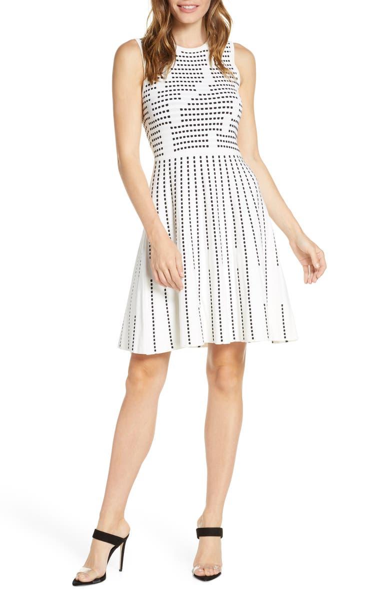 HARPER ROSE Fit & Flare Sweater Minidress, Main, color, IVORY