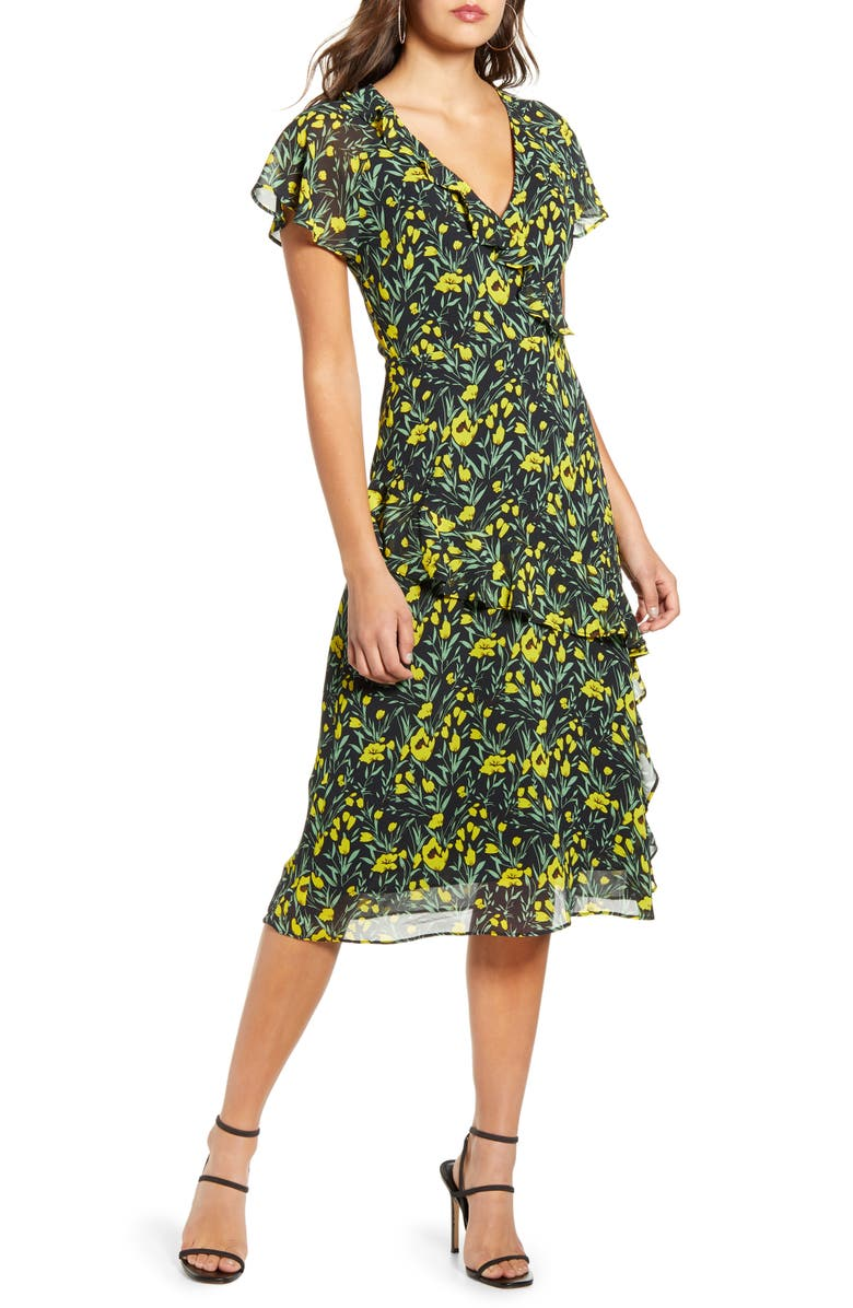 ALL IN FAVOR Flutter Sleeve Midi Dress, Main, color, BLACK YELLOW FLORAL