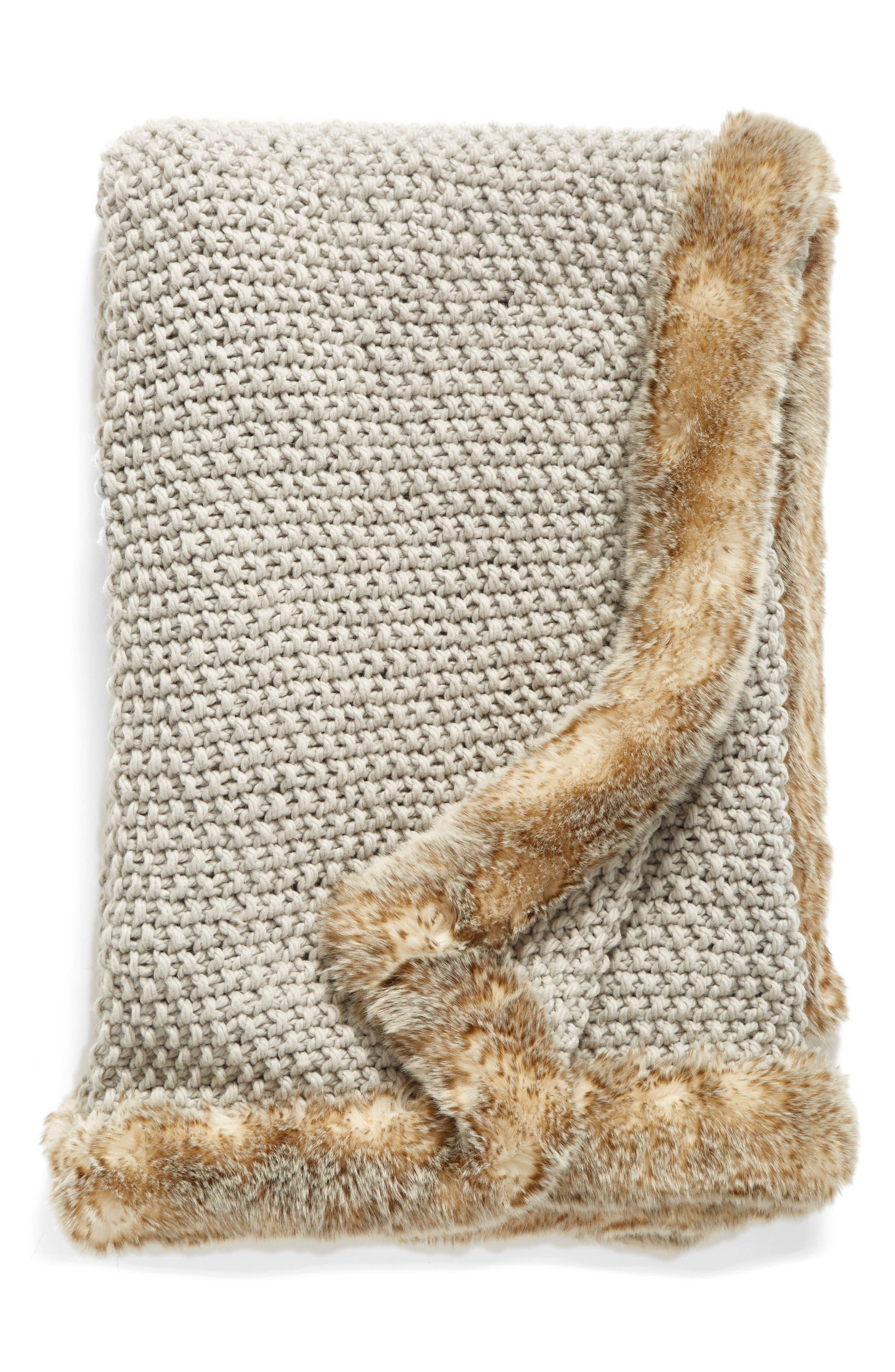 ,                             Faux Fur Border Knit Throw,                             Main thumbnail 3, color,                             021