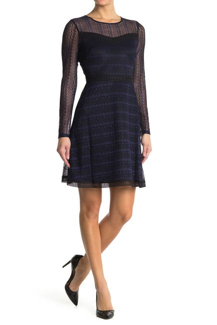 Image of GUESS Lace Mesh Long Sleeve Dress