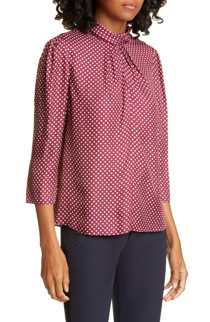 Image of TAILORED BY REBECCA TAYLOR Deco Dot Silk Blend Blouse