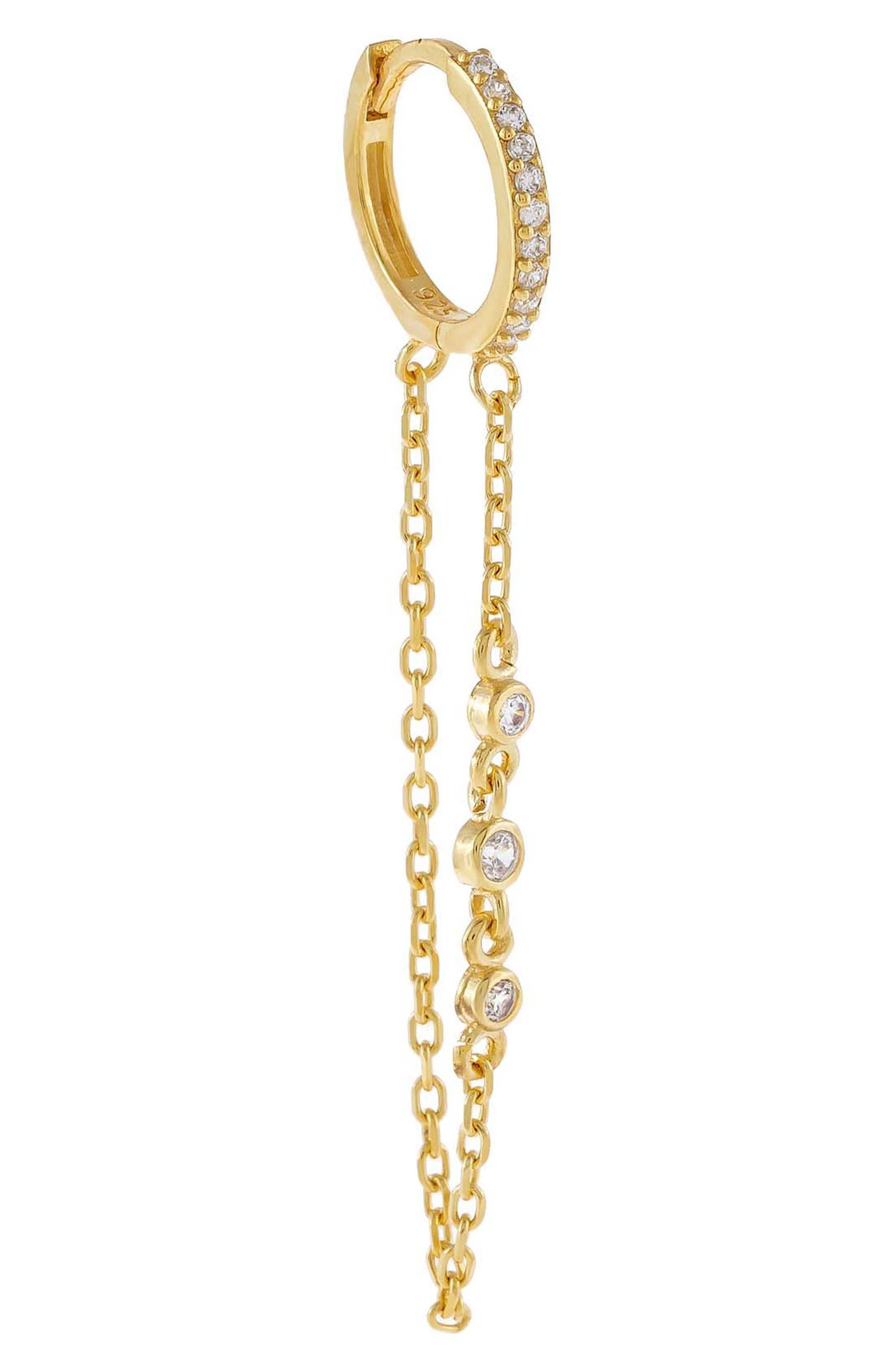 Women's Adina's Jewels Bezel Chain Single Huggie Earring