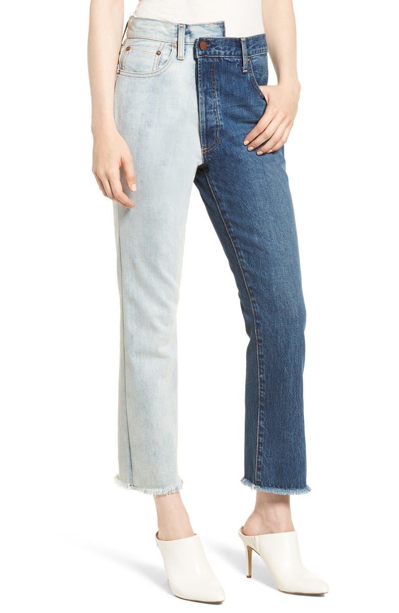 ALICE + OLIVIA JEANS Amazing Two-Tone High Waist Boyfriend Jeans, Main, color, 423
