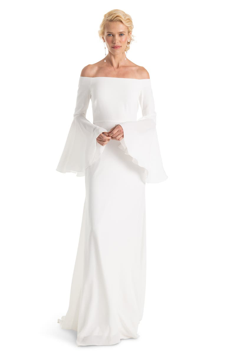 JOANNA AUGUST Bowie Off the Shoulder Bell Sleeve Gown, Main, color, 100
