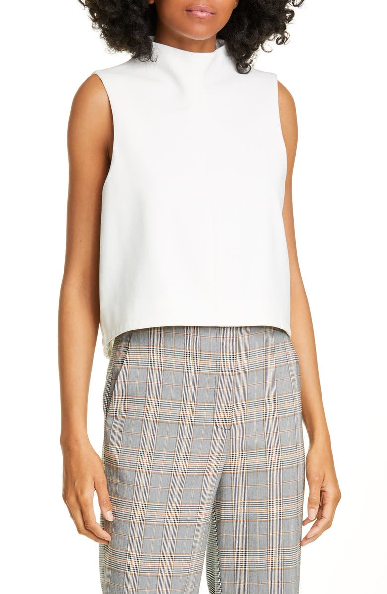 TIBI Funnel Neck Top, Main, color, IVORY