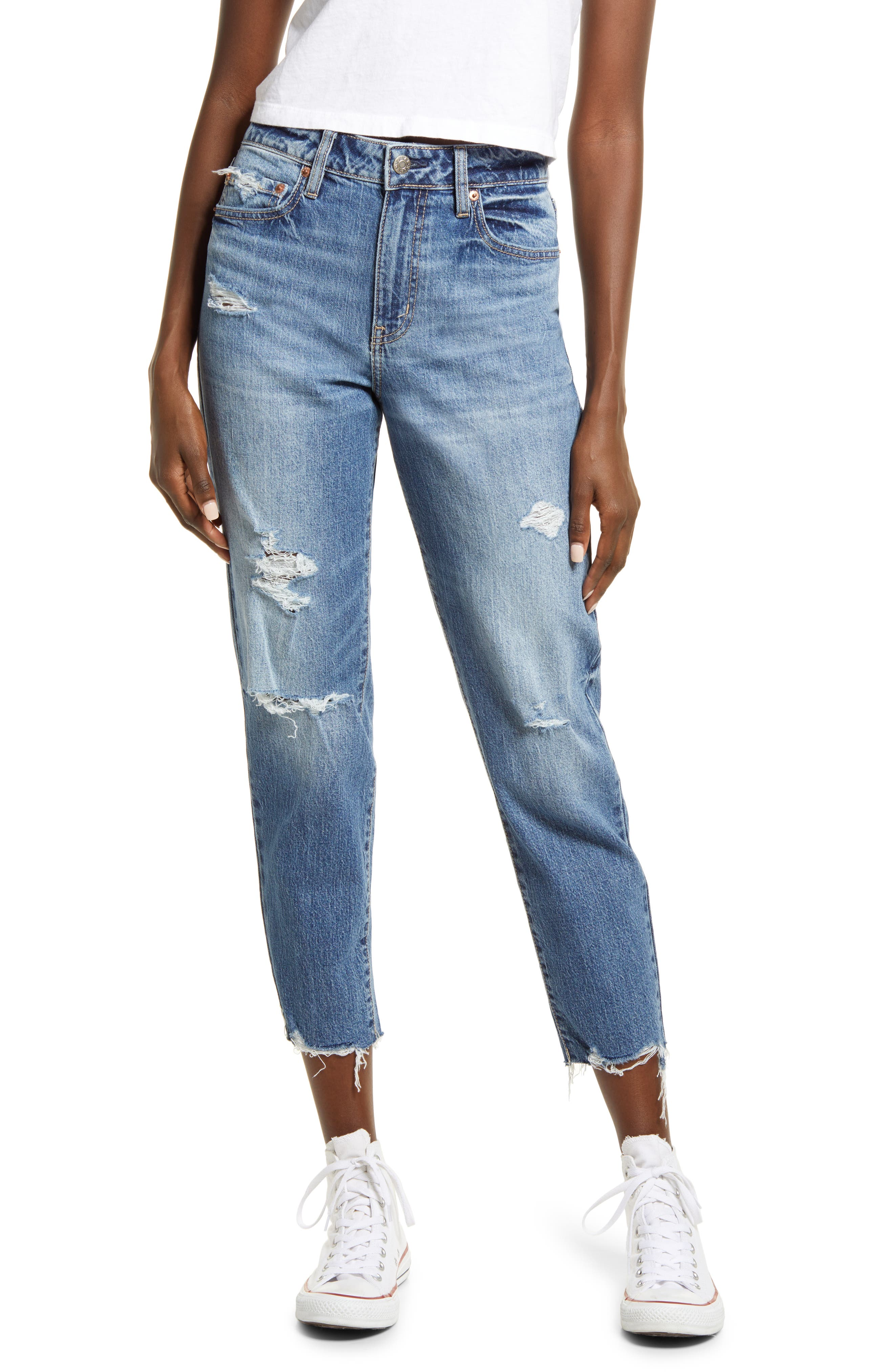 The Original Ripped High Waist Ankle Mom Jeans