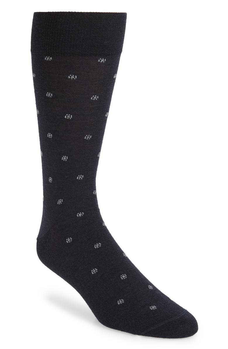 NORDSTROM SIGNATURE Merino Foulard Dot Dress Socks, Main, color, NAVY/ BLUE