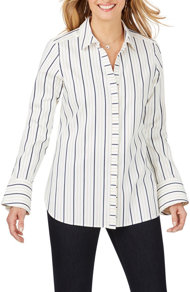 FOXCROFT Kyla Stretch Non-Iron Sateen Stripe Shirt, Main, color, BIRCH