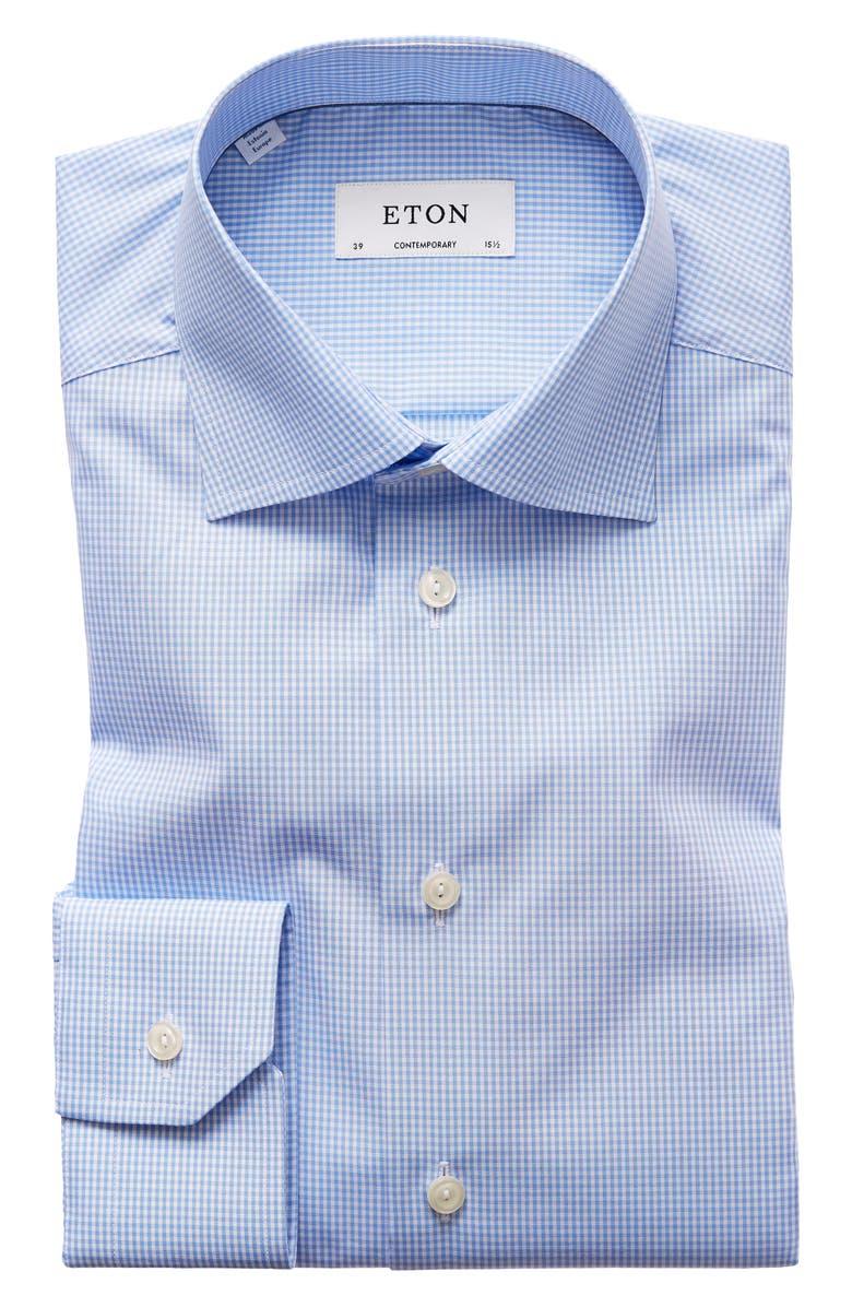 ETON Contemporary Fit Check Dress Shirt, Main, color, MID BLUE