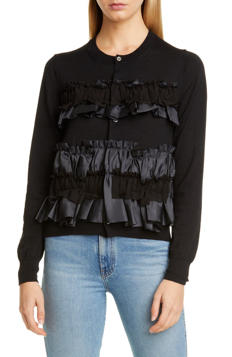 COMME DES GARÇONS Tiered Ruffle Wool Cardigan, Main, color, BLACK
