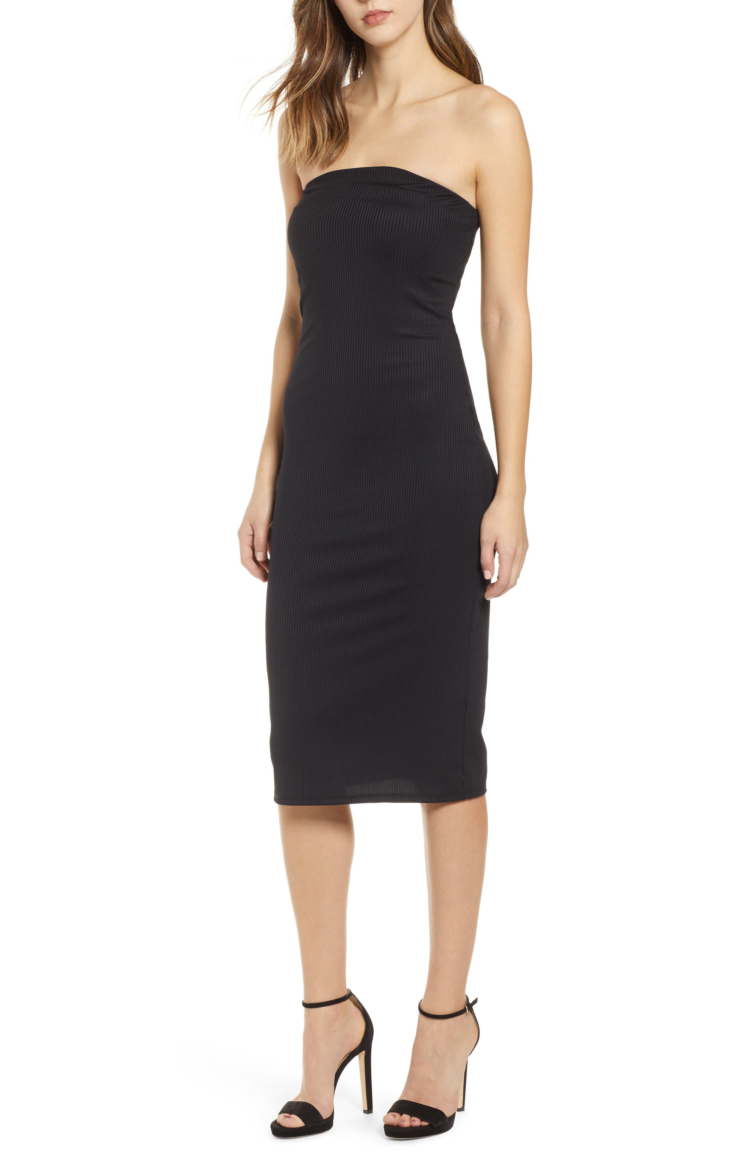 Leith Ribbed Midi Strapless Tube Dress, Black