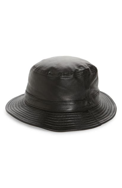 Brixton BRITXON MATHEWS LEATHER BUCKET HAT - BLACK