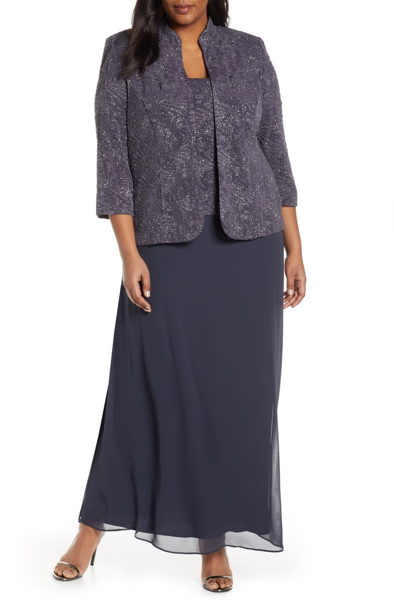 ALEX EVENINGS Lace & Chiffon Gown with Jacket, Main, color, SMOKE