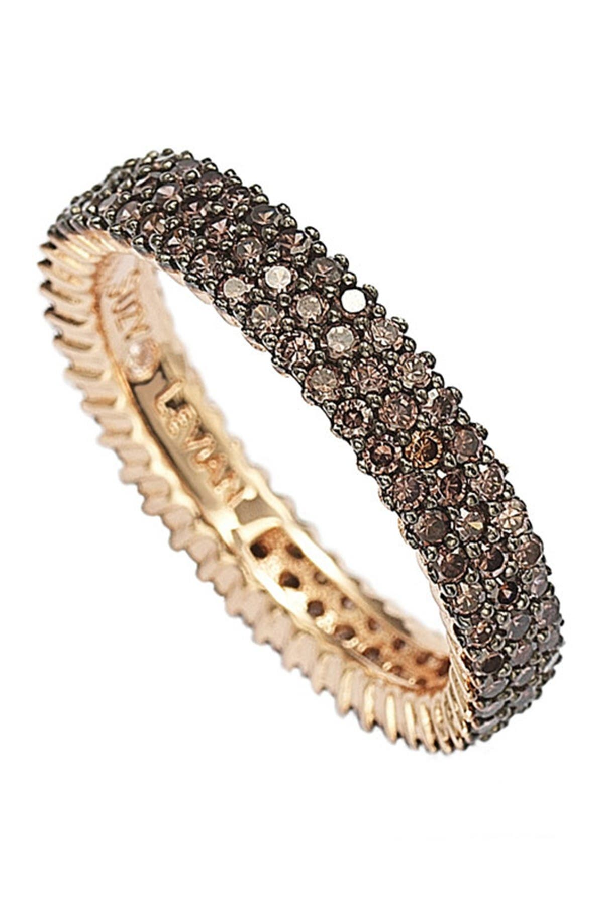 Image of Suzy Levian 14K Rose Gold Plated Micro-Pave Brown CZ Eternity Band Ring