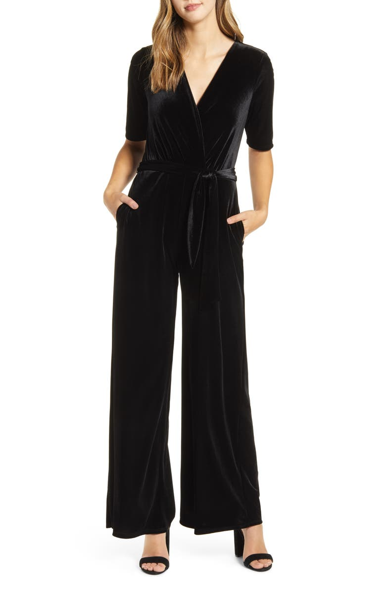 X Glam Jessica Fay Velvet Wrap Jumpsuit by Gibson