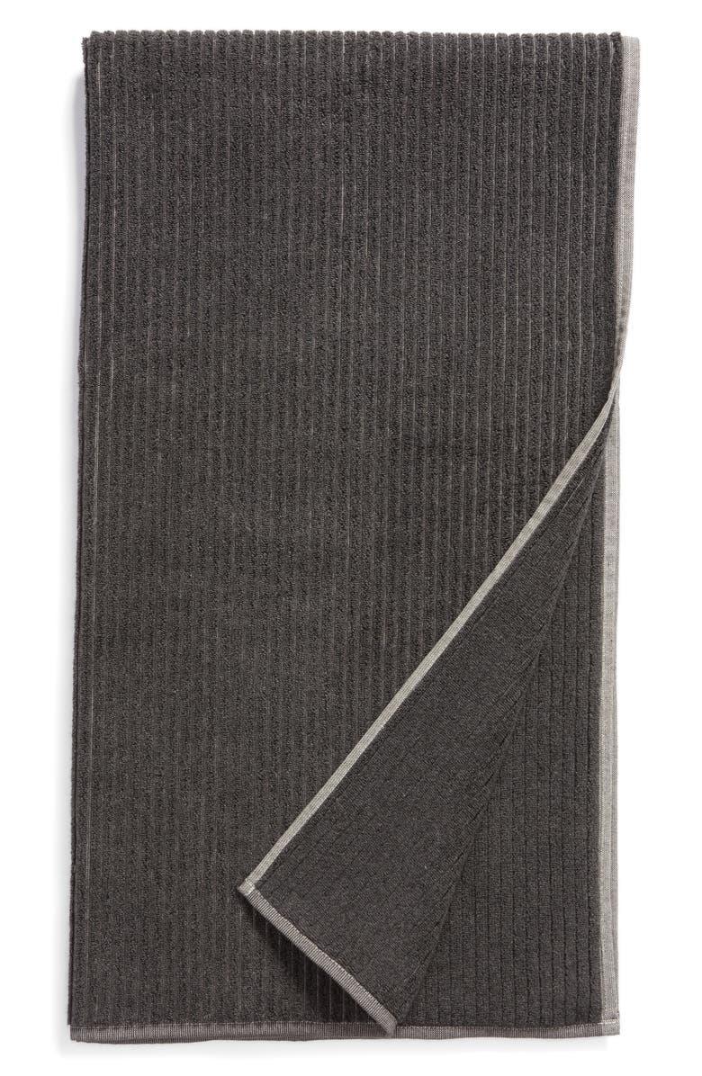 NORDSTROM Organic Cotton Rib Bath Towel, Main, color, GREY MAGNET