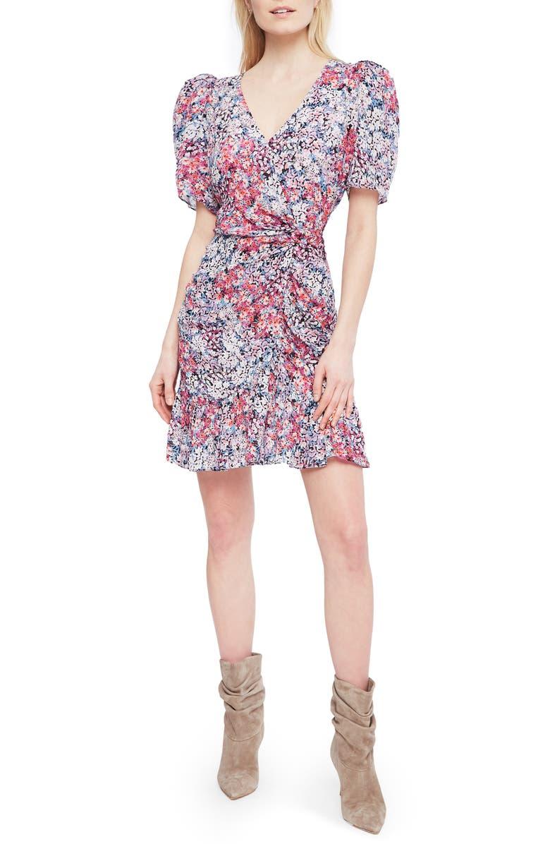 PARKER Krislyn Floral Silk Minidress, Main, color, DAHLIA DITSY